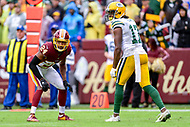Landover, MD - September 23, 2018: Washington Redskins defensive back Josh Norman (24) lines up against Green Bay Packers wide receiver Davante Adams (17) during game between the Green Bay Packers and the Washington Redskins at FedEx Field in Landover, MD. The Redskins get the win 31-17 over the visiting Packers. (Photo by Phillip Peters/Media Images International)