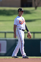 Salt River Rafters shortstop Steve Wilkerson (10), of the Baltimore Orioles organization, during an Arizona Fall League game against the Mesa Solar Sox on October 30, 2017 at Salt River Fields at Talking Stick in Scottsdale, Arizona. The Solar Sox defeated the Rafters 8-4. (Zachary Lucy/Four Seam Images)