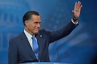 March 14, 2013  (National Harbor, Maryland)  Former Republican presidential candidate Mitt Romney waves to attendees of the 2013 Conservative Political Action Conference (CPAC) in National Harbor, MD.  (Photo by Don Baxter/Media Images International)