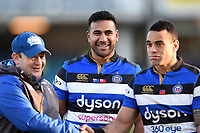 Cooper Vuna of Bath Rugby is all smiles after the match. Aviva Premiership match, between Bath Rugby and Sale Sharks on February 24, 2018 at the Recreation Ground in Bath, England. Photo by: Patrick Khachfe / Onside Images
