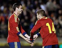 Spain's Alvaro Vazquez and Alberto Moreno celebrate goal during an International sub21 match. March 21, 2013.(ALTERPHOTOS/Alconada) /NortePhoto