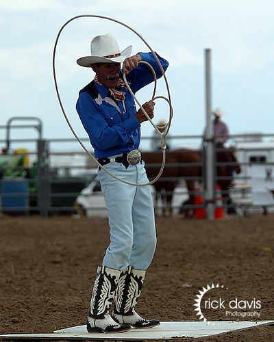Trick Roper Larry Lewis of Parker, Colorado entertains the crowd at the Southeast Weld County CPRA Rodeo in Keenesburg, Colorado on August 12, 2006.
