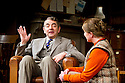 Quartermaine's Terms by Simon Gray, directed by Richard Eyre. With Rowan Atkinson as St John Quartermaine, Felicity Montagu as Melanie Garth. Opens at Wyndams Theatre  on 29/1/13. CREDIT Geraint Lewis