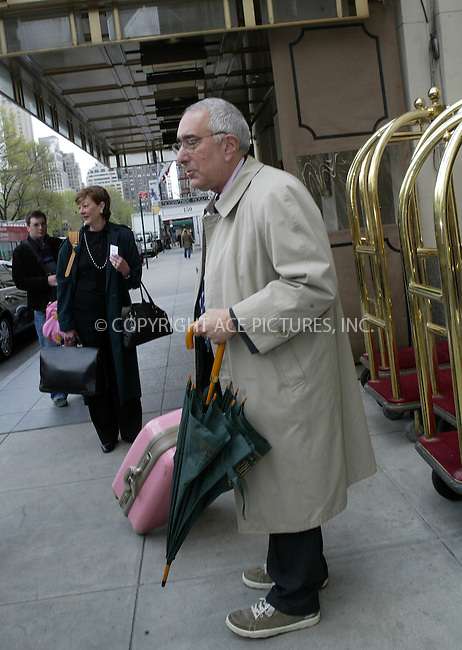 WWW.ACEPIXS.COM . . . . .  ....NEW YORK, APRIL 25, 2005....Ben Stein is seen leaving his midtown hotel.....Please byline: Ian Wingfield - ACE PICTURES..... *** ***..Ace Pictures, Inc:  ..Craig Ashby (212) 243-8787..e-mail: picturedesk@acepixs.com..web: http://www.acepixs.com
