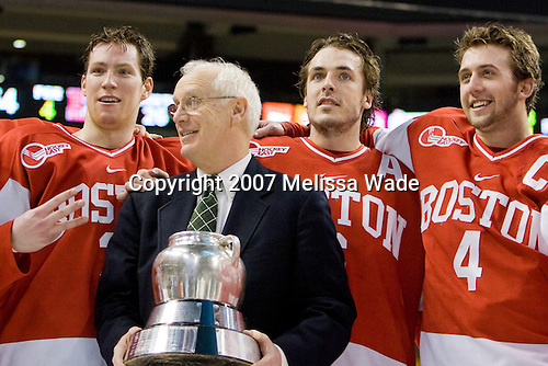 Kevin Schaeffer (BU - 3), Jack Parker (BU - Head Coach), Kenny Roche (BU - 6), Sean Sullivan (BU - 4) - The Boston University Terriers defeated the Boston College Eagles 2-1 (OT) in the Beanpot final on Monday, February 12, 2007, at TD Banknorth Garden in Boston, Massachusetts.