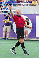 Orlando, Florida - Sunday, May 8, 2016: The referee awards a free kick during a National Women's Soccer League match between Orlando Pride and Seattle Reign FC at Camping World Stadium.
