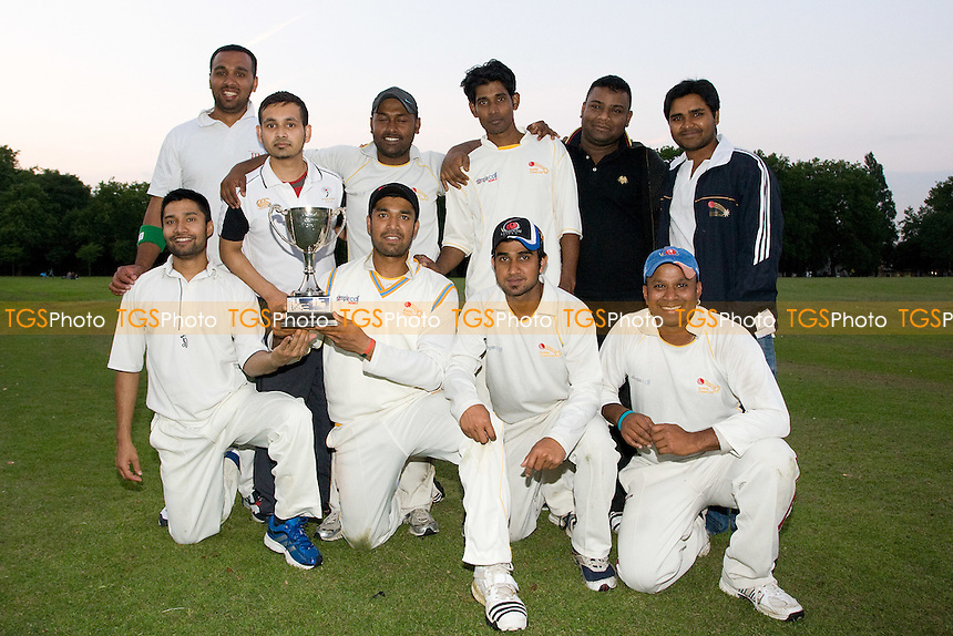 London Tigers celebrate their victory -London Tigers CC v Tower Hamlets CC- Victoria Park Community Cricket League Cup Final - 09/08/12 - MANDATORY CREDIT: George Phillipou/TGSPHOTO - Self billing applies where appropriate - 0845 094 6026 - contact@tgsphoto.co.uk - NO UNPAID USE.
