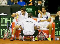 September 13, 2014, Netherlands, Amsterdam, Ziggo Dome, Davis Cup Netherlands-Croatia, Doubles, Cilic/Draganja on the Croatian bench<br /> Photo: Tennisimages/Henk Koster