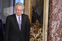 Roma, 17 Febbraio 2012.Palazzo Chigi.Il Presidente del consiglio Mario Monti incontra  il Ministro delle finanze del Canada, Jim Flaherty