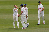 Jamie Porter of Essex celebrates taking the wicket of Jordan Cox during Kent CCC vs Essex CCC, Friendly Match Cricket at The Spitfire Ground on 27th July 2020