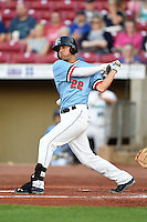 Cedar Rapids Kernels outfielder Zack Larson (22) at bat during a game against the Quad Cities River Bandits on August 19, 2014 at Perfect Game Field at Veterans Memorial Stadium in Cedar Rapids, Iowa.  Cedar Rapids defeated Quad Cities 5-3.  (Mike Janes/Four Seam Images)