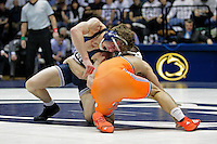 STATE COLLEGE, PA - FEBRUARY 16: Zack Beitz of the Penn State Nittany Lions during a 149 pound match against Josh Kindig of the Oklahoma State Cowboys on February 16, 2014 at Rec Hall on the campus of Penn State University in State College, Pennsylvania. Penn State won 23-12. (Photo by Hunter Martin/Getty Images) *** Local Caption *** Zack Beitz;Josh Kindig