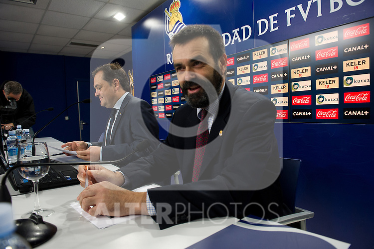 Real Sociedad's President Jokin Aperribay and the counselor Ignacio Serrats (r) in press conference.November 20,2013. (ALTERPHOTOS/Acero)