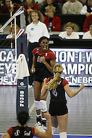 16 December 2006: Stanford Cardinal Foluke Akinradewo and Bryn Kehoe during Stanford's 30-27, 26-30, 28-30, 27-30 loss against the Nebraska Huskers in the 2006 NCAA Division I Women's Volleyball Final Four Championship match at the Qwest Center in Omaha, NE.