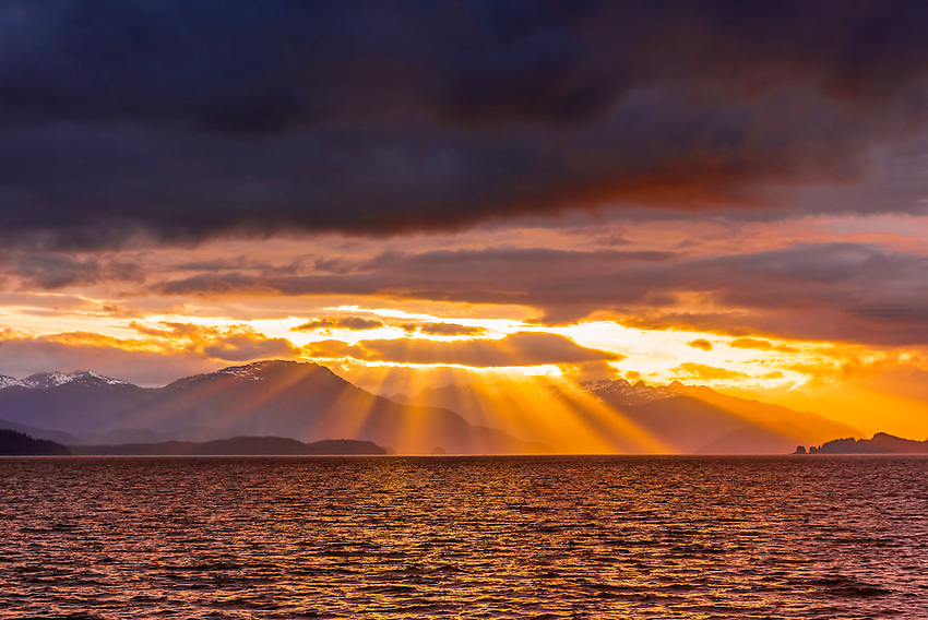 Sunset over Baranof Island, near Freshwater Bay, Inside Passage, Southeast Alaska USA.
