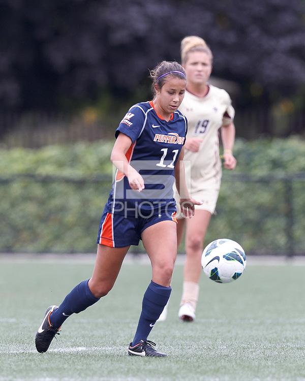 Pepperdine University forward Callie Payetta (11) brings the ball forward. Pepperdine University defeated Boston College,1-0, at Soldiers Field Soccer Stadium, on September 29, 2012.