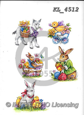 Interlitho-Theresa, EASTER, OSTERN, PASCUA, paintings+++++,5 easter rabbits,KL4512,#e#, EVERYDAY