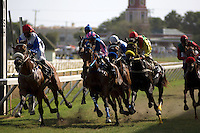 The winner and runners-up sweep past the finishing post at Garrison Savannah racecourse in Bridgetown, Barbados, during one of the special race days to celebrate the Cricket World Cup in the West Indies, 2007.