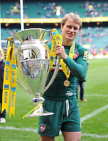Matthew Tait with the Aviva Premiership trophy. Aviva Premiership Final, between Leicester Tigers and Northampton Saints on May 25, 2013 at Twickenham Stadium in London, England. Photo by: Patrick Khachfe / Onside Images
