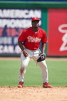 Philadelphia Phillies Josh Tobias (26) during an instructional league game against the New York Yankees on September 29, 2015 at Brighthouse Field in Clearwater, Florida.  (Mike Janes/Four Seam Images)