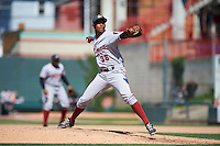 Altoona Curve relief pitcher Edgar Santana (38) delivers a pitch during a game against the Erie SeaWolves on July 10, 2016 at Jerry Uht Park in Erie, Pennsylvania.  Altoona defeated Erie 7-3.  (Mike Janes/Four Seam Images)