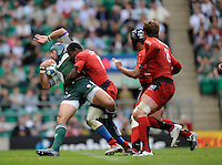 Twickenham, GREAT BRITAIN, Toulouses', Manu AHOTAELOA, with a crashing tackle on the Exiles' Juan LEGUIZAMON, during the Heineken, Semi Final, Cup Rugby Match,  London Irish vs Toulouse, at the Twickenham Stadium on Sat 26.04.2008 [Photo, Peter Spurrier/Intersport-images]