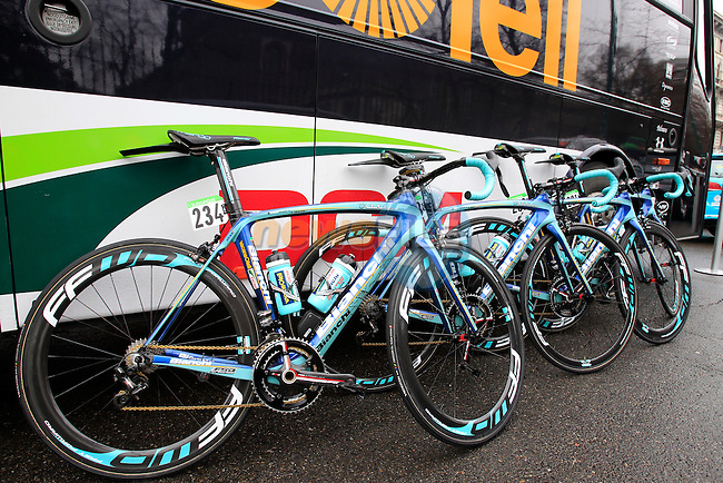 Vacansoleil-DCM Pro Team Bianchi bikes lined up at the start of the 104th edition of the Milan-San Remo cycle race at Castello Sforzesco in Milan, 17th March 2013 (Photo by Eoin Clarke 2013)