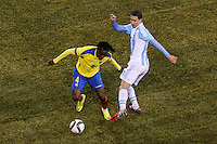 Argentina soccer player Angel Di Maria fights for the ball during a friendly match between Argentina and Ecuador in New Jersey. 03.31.2015. Kena Betancur / VIEWpress.