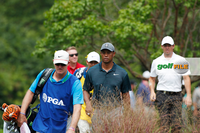 Tiger Woods (USA) walks to the 8th tee during the 1st round of the 100th PGA Championship at Bellerive Country Club, St. Louis, Missouri, USA. 8/9/2018.<br /> Picture: Golffile.ie | Brian Spurlock<br /> <br /> All photo usage must carry mandatory copyright credit (© Golffile | Brian Spurlock)