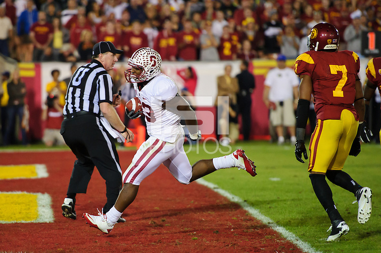 LOS ANGELES, CA - October 29, 2011:  Stepfan Taylor scores a touchdown during the third overtime of Stanford's Pac-12 victory over the USC Trojans.  Stanford won in triple overtime, 56 -48, and extended its winning streak to 16 games.  Taylor's touchdown and the following two-point coversion were the winning score.