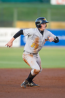 Erich Weiss (22) of the West Virginia Power takes his lead off of second base against the Kannapolis Intimidators at CMC-Northeast Stadium on April 17, 2014 in Kannapolis, North Carolina.  The Power defeated the Intimidators 4-3.  (Brian Westerholt/Four Seam Images)