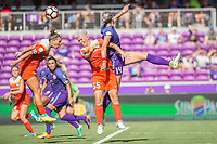 Orlando, FL - Saturday June 24, 2017: Janine van Wyk, Alanna Kennedy during a regular season National Women's Soccer League (NWSL) match between the Orlando Pride and the Houston Dash at Orlando City Stadium.