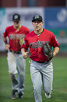 Billings Mustangs center fielder Drew Mount (8) jogs off the field between innings of a Pioneer League game against the Ogden Raptors at Lindquist Field on August 17, 2018 in Ogden, Utah. The Billings Mustangs defeated the Ogden Raptors by a score of 6-3. (Zachary Lucy/Four Seam Images)