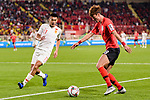 Hwang Uijo of South Korea (R) fights for the ball with Zhang Chengdong of China (L) during the AFC Asian Cup UAE 2019 Group C match between South Korea (KOR) and China (CHN)  at Al Nahyan Stadium on 16 January 2019 in Abu Dhabi, United Arab Emirates. Photo by Marcio Rodrigo Machado / Power Sport Images