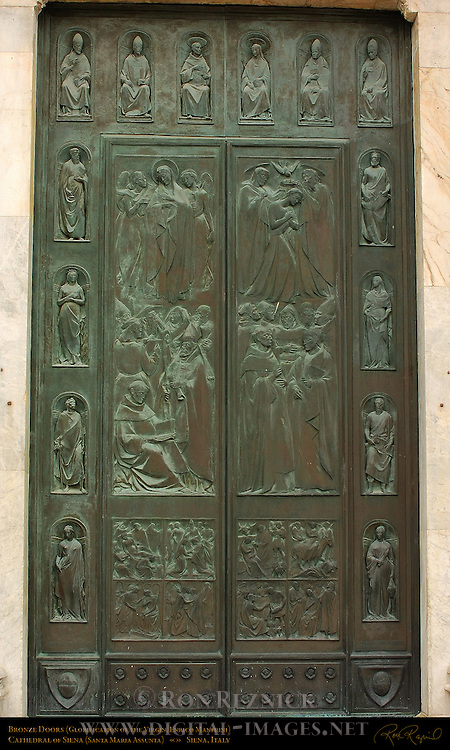 Bronze Doors, Glorification of the Virgin, Enrico Manfrini 1958, Cathedral of Siena, Santa Maria Assunta, Siena, Italy