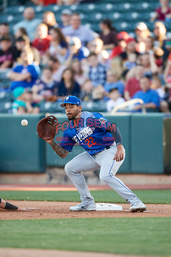 Dominic Smith (22) of the Las Vegas 51s on defense against the Salt Lake Bees at Smith's Ballpark on May 7, 2018 in Salt Lake City, Utah. The 51s defeated the Bees 10-8. (Stephen Smith/Four Seam Images)