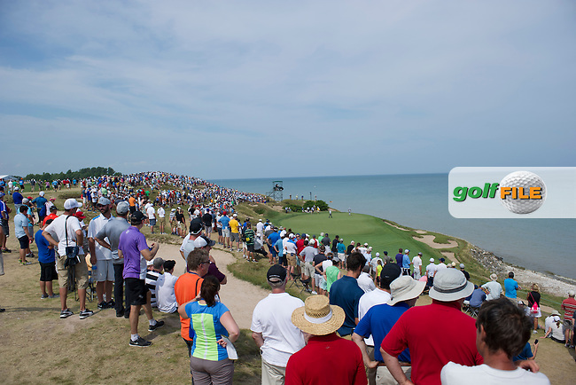 The view over the 6th green during the final round of the 2015 USPGA Championship at Whistling Straits (Photo: Anthony Powter)