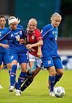Dora Larusdottir (10), Solveig Guldbrandsen (8) and Edda Gardarsdottir (4), Women's EURO 2009 in Finland.Iceland-Norway, 08272009, Lahti