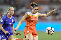Houston, TX - Saturday June 17, 2017: Cari Roccaro clears the ball from her side of the field during a regular season National Women's Soccer League (NWSL) match between the Houston Dash and the Orlando Pride at BBVA Compass Stadium.