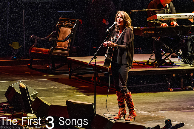 "Kathy Mattea performs at the George Jones Tribute Concert ""Playin' Possum: The Final No Show"" at Bridgestone Arena in Nashville, TN"