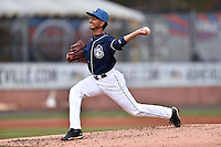 Asheville Tourists pitcher Yoely Bello (16) delivers a pitch during game one of a double header against the Greenville Drive on April 18, 2015 in Asheville, North Carolina. The Tourists defeated the Drive 2-1. (Tony Farlow/Four Seam Images)