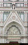 Triumph of the Cross Mourning Virgin Giovanni Dupre 1863 Main Portal Lunette Pediment and Sculptures Santa Croce Florence