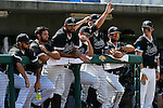 4 JUNE 2016: Nova Southeastern University players watch from the bench during the Division II Men's Baseball Championship between Millersville University and Nova Southeastern University at the USA Baseball National Training Complex in Cary, NC.  Nova Southeastern University defeated Millersville University 8-6 to win the national title. Grant Halverson/NCAA Photos