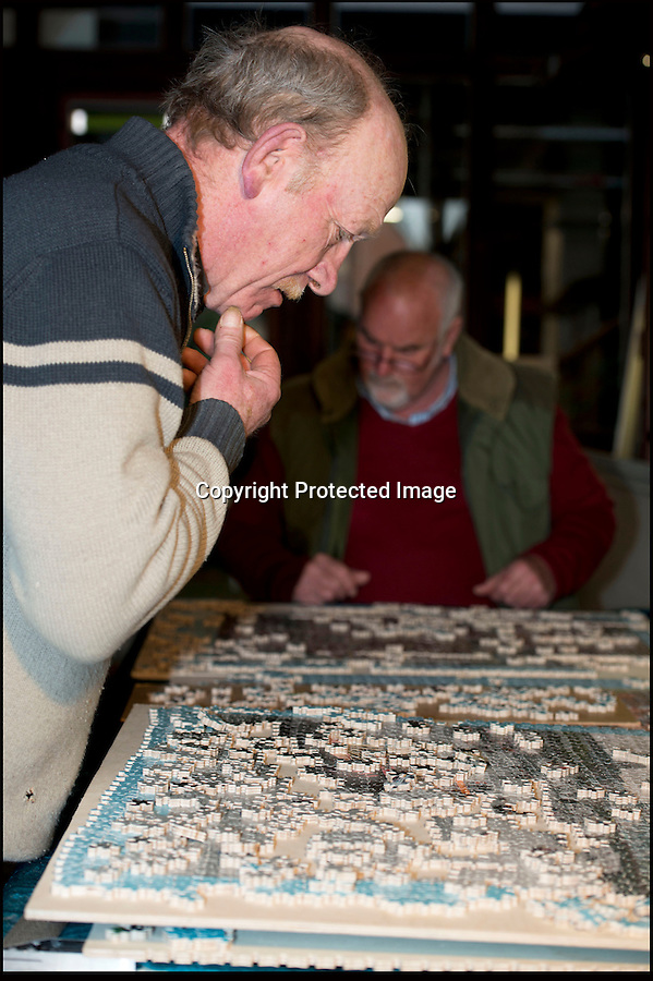 BNPS.co.uk (01202 558833).Pic: RachelAdams/BNPS..Picking up the pieces...A team of helpers are now in a race against time to get the puzzle back together for display for the Queen next week...A jigsaw creator who spent over a month making a 40,000 piece puzzle for a world record attempt has had to start again - as it collapsed just one day after he finished...Craftsman Dave Evans from Weymouth in Dorset was hoping to create the largest hand-cut wooden jigsaw and spent 35 days making it out of 33 images of the Queen's Diamond Jubilee...Just one day after he put in the final segment of the 19ft 6in by 8ft masterpiece, Dave noticed it had moved slightly due to the sloping floor, and tried to adjust it...But as he moved the enormous puzzle he became distracted by someone asking for directions, and it suddenly collapsed from the frame and crumpled to the floor...Luckily Dave had already measured, photographed, and filmed the world record bid and sent the information off to the Guiness World Records before it was destroyed..