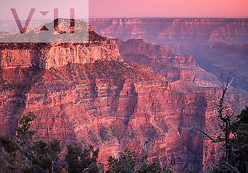 Sunrise view from Bright Angel Point, Grand Canyon National Park,  North Rim, USA