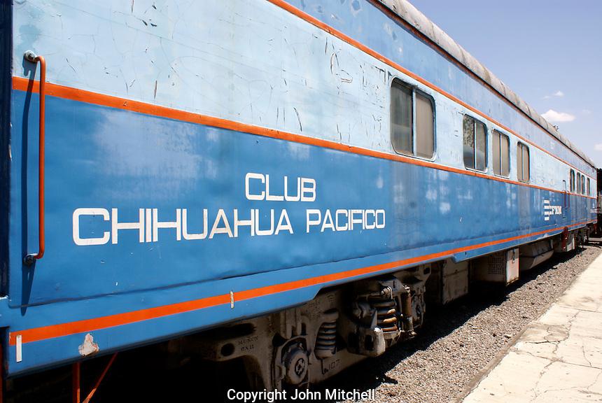 Club car form the Chihuahua Pacifico railway, Museo Nacional de los Ferrocarriles Mexicanos or National Railway Museum in the city of Puebla, Mexico