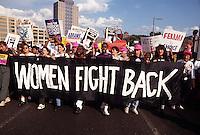 Brooklyn, NY 7 July 1992 Pro Choice Advocates march across the Brooklyn Bridge to New York City Hall