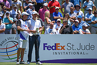 Justin Rose (GBR) looks over his tee shot on 1 during round 1 of the WGC FedEx St. Jude Invitational, TPC Southwind, Memphis, Tennessee, USA. 7/25/2019.<br /> Picture Ken Murray / Golffile.ie<br /> <br /> All photo usage must carry mandatory copyright credit (© Golffile | Ken Murray)