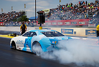 May 6, 2017; Commerce, GA, USA; NHRA pro stock driver Shane Tucker does a burnout during qualifying for the Southern Nationals at Atlanta Dragway. Mandatory Credit: Mark J. Rebilas-USA TODAY Sports