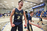 Dillon Bailey, Bentonville West point guard, celebrates after defeating Rogers 39-36 Tuesday, Jan. 14, 2020, at King Arena in Rogers.<br /> Go to http://bit.ly/2FVKUXz to see more photos.<br /> (NWA Democrat-Gazette/Ben Goff)